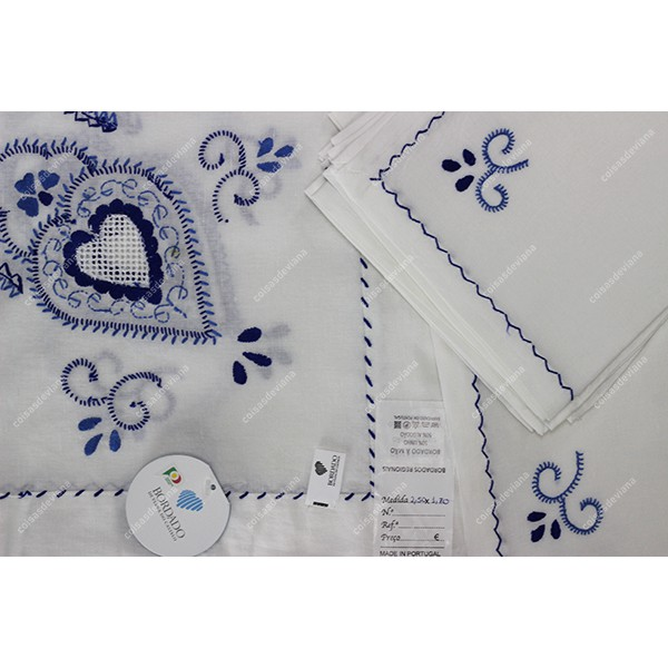 3,0x1,70-TABLECLOTH IN WHITE LINEN EMBROIDERED IN ...