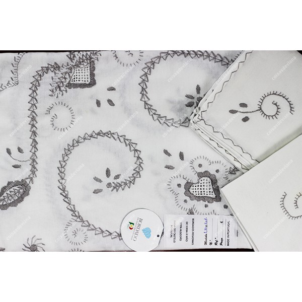 1,80 round-TABLECLOTH IN COTTON EMBROIDERED IN GREY
