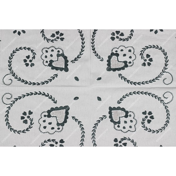 1,0x1,0-TABLECLOTH IN COTTON EMBROIDERED IN GREY