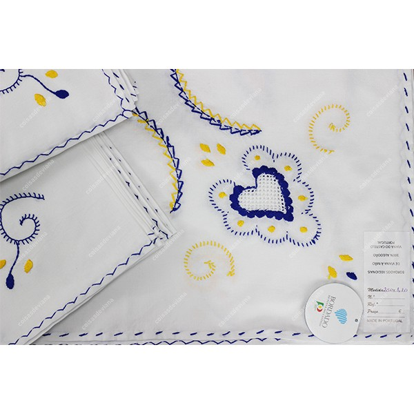 2,50x1,70-TABLECLOTH IN COTTON EMBROIDERED IN BLUE...