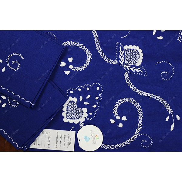 1,80 round-TABLECLOTH IN BLUE COTTON EMBROIDERED I...