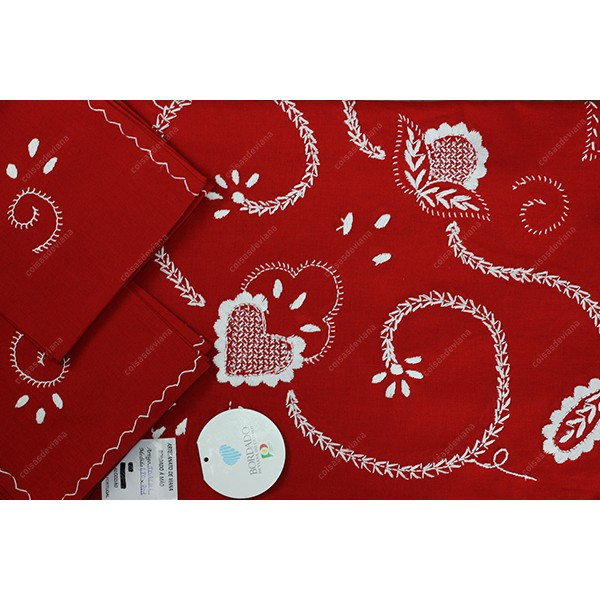 1,80 round-TABLECLOTH IN RED COTTON EMBROIDERED IN WHITE