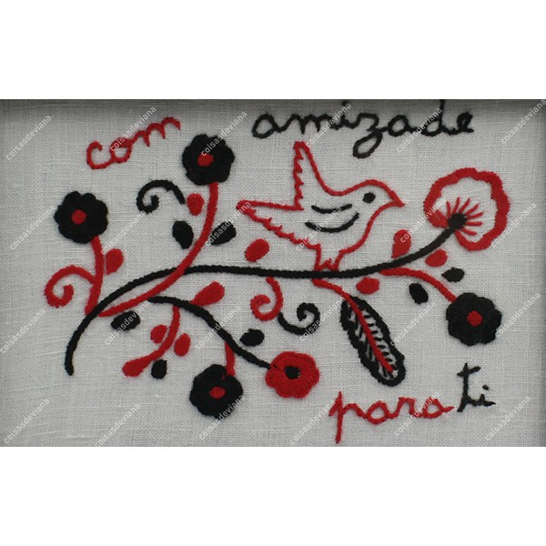 WOODEN TEA BOX WITH 6 DIVISIONS LOVE HANDKERCHIEF EMBROIDERY IN LINEN FABRIC