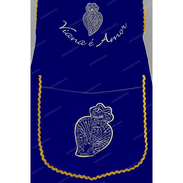 ENTIRE APRON IN COTTON HEART OF VIANA EMBROIDERED TO THE MACHINE