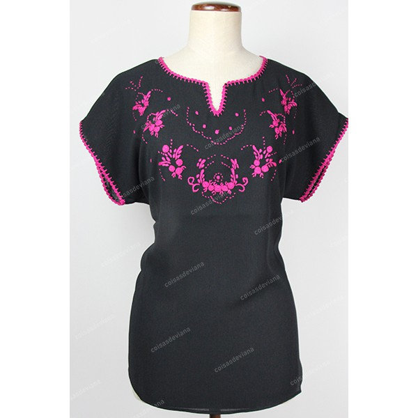 BLOUSE IN CREPE FABRIC VIANA EMBROIDERY