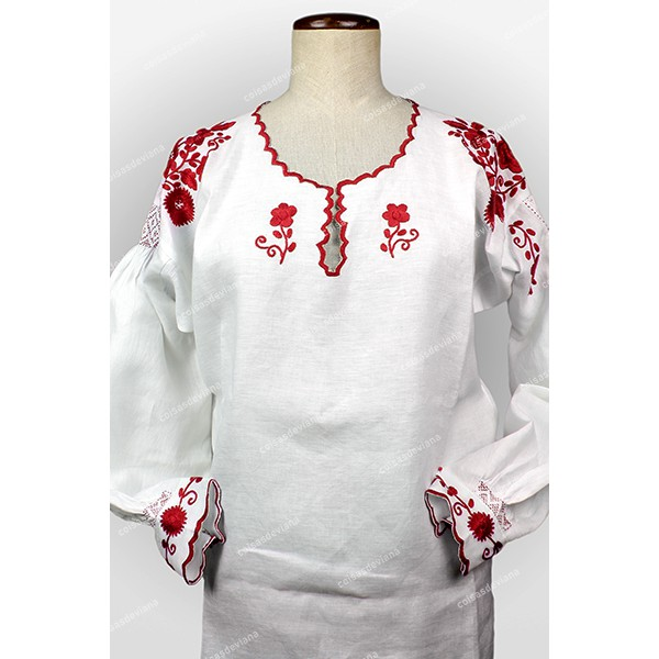 VIANESA SHIRT IN LINEN RICH RED EMBROIDERY AND CUT...
