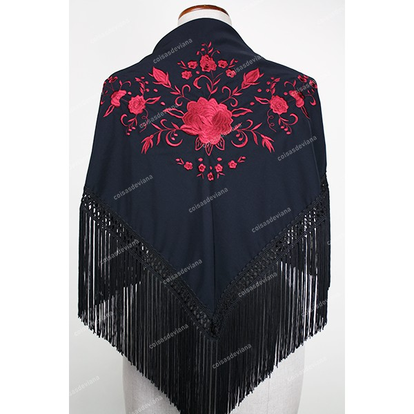 SHAWL WITH FRINGE EMBROIDERED BY MACHINE